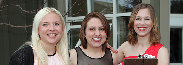 2014/15 season interns Jenna Smoger, Alison Sokol and Gabriella Schneider.